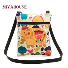 Miyahouse Casual Cartoon Elephant Printed Messenger Bag For Girls Mini Flap Shoulder Bag Canvas Bag Summer Ladies Small Bag