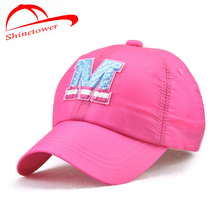 [Shinetower]Summer Baseball Caps Hats Quick Dry Letter M Embroidery Sun Hats(China)