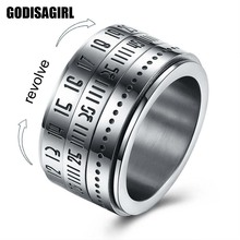 New Fashion Round male rings Turn Rotated text password Titanium Steel Ring For Men Gift(China)