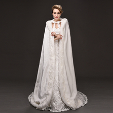 Elegant Cheap 2017 Warm Bridal Cape ivory White Winter Fur Coat Women Wedding bolero Jacket Bridal Cloaks Wedding Coat