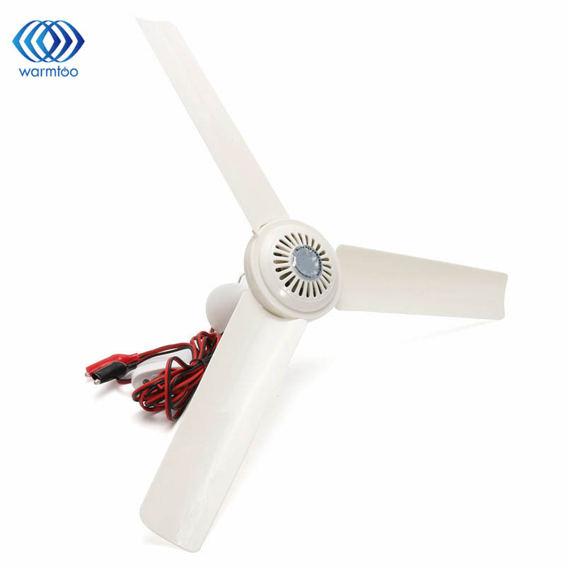 DC 12V 12W 3 Leaves Portable Ceiling Fan Mini Hanging Ceiling Fan Humidifier Coo