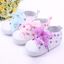 100% Brand New 3 Colors Born Baby Toddlers Cute Design Floral Ribbon Style Anti-Slip Shoes(China)