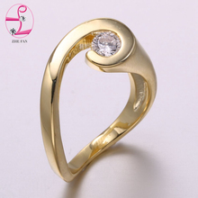 ZHE FAN AAA Cubic Zirconia Trendy Unusual Rose Gold Color Engagement Christmas Rings For Women White Jewelry Size 7 Wholesale(China)