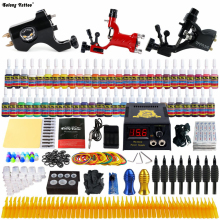 Beginner Starter Complete Tattoo Kit Professional Tattoo Machine Kit Rotary Machine Guns 54 Inks Power Supply Grips Set TK355