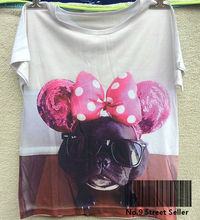 Track Ship + New Summer Fresh T-shirt Tee T Top Tee Cute Cool Dog Animal trotter the french bulldog Pink Bow Glasses 0102