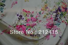 Free shipping 2013 new 100% pure mulberry silk fabric  charmuse silk  print fabric for dress bedding scraf  #LS0773
