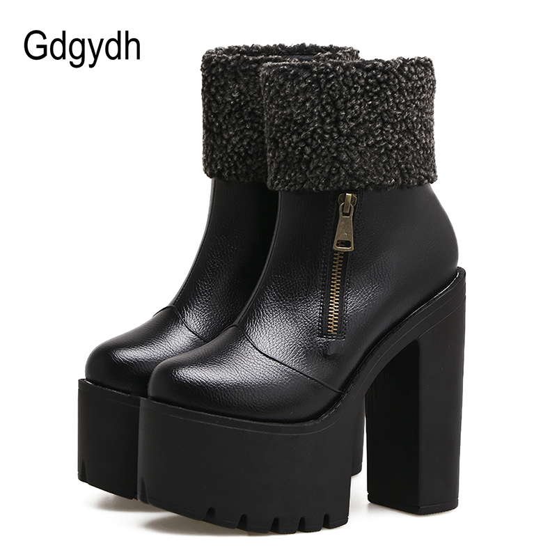 Gdgydh Fashion Zipper Autumn Winter Shoes Platform Women Slip-resistant Female Ankle Boots High Heels Leather Black Short Boots<br>