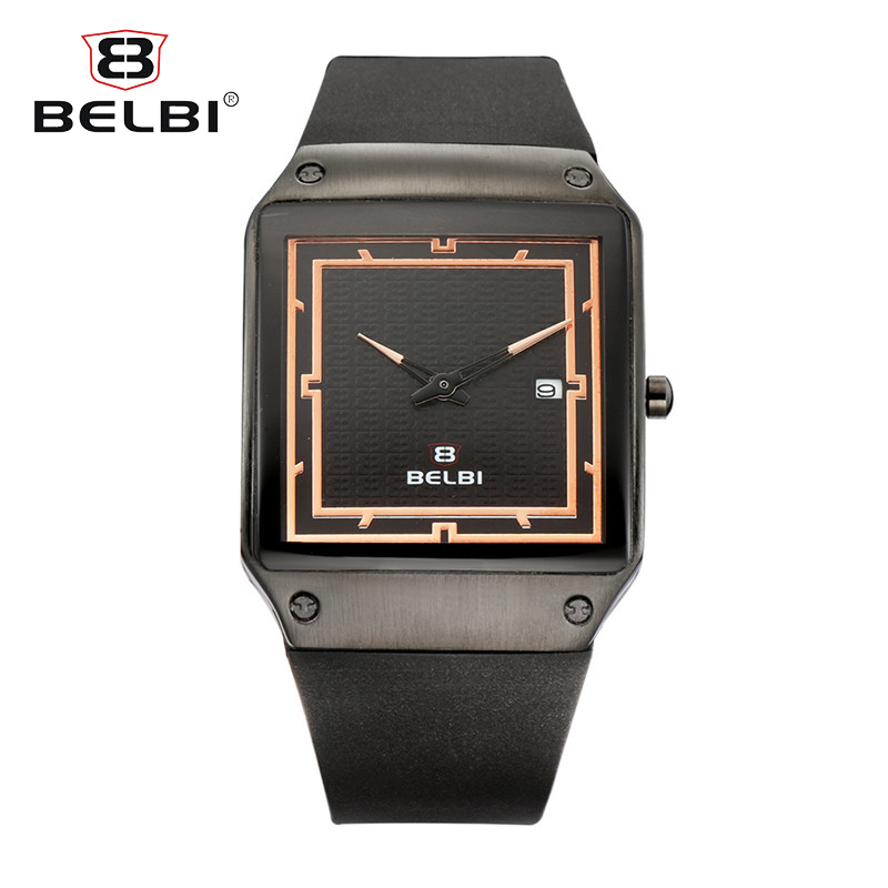 BELBI Brand Fashion Rectangle Casual Men Watch Calendar Waterproof Silicone Quartz Watches Military Wristwatch Relogio Masculino<br>