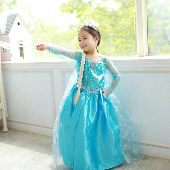 Retail New 2014 summer Children girls party clothes, light blue Lovely dress, fashion child kids cosplay dress ,Baby Clothing<br><br>Aliexpress