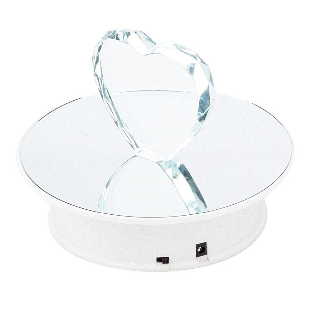 20CM Stylish Mirror Surface Electric Motorized Rotating Display Turntable  for jewelry Toys Model,watches Display Stand(China)