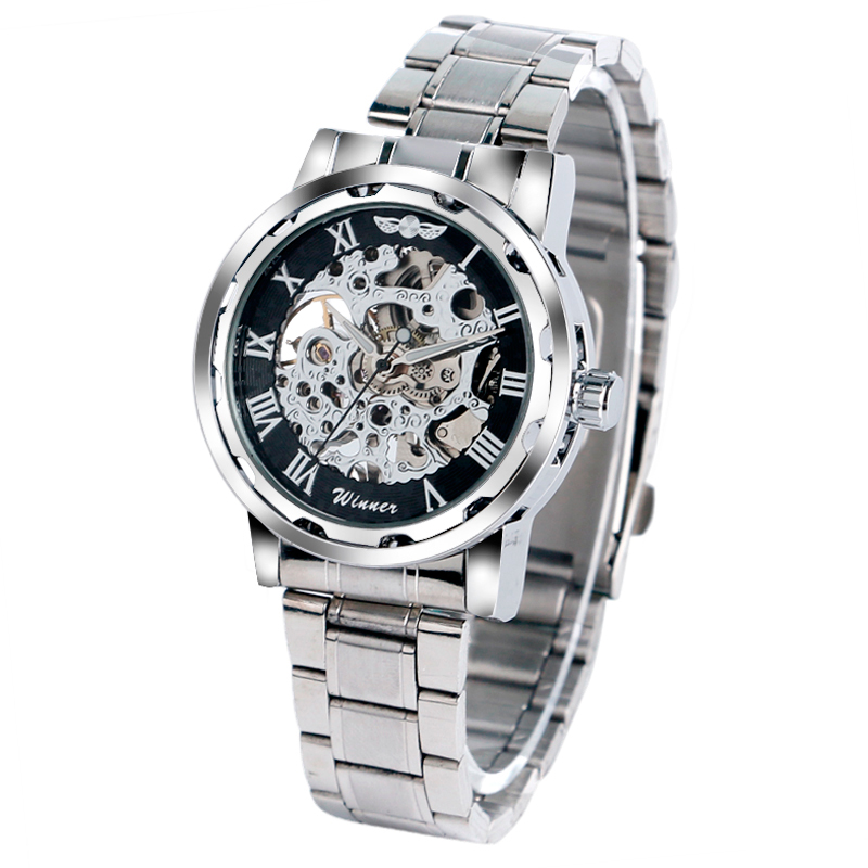 Top Brand Winner Luxury Stainless Steel Watches Mens Watches Skeleton Mechanical Hand Wrsitwatches Male Business Clock Relogio<br><br>Aliexpress
