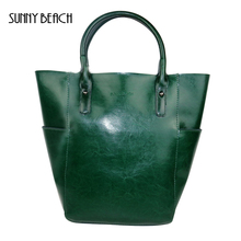 SUNNY BEACH Vintage Women Genuine Leather Bags Everyday Office Lady Bags Real Leather Bag Designer Tote Crossbody Shoulder Bag(China)