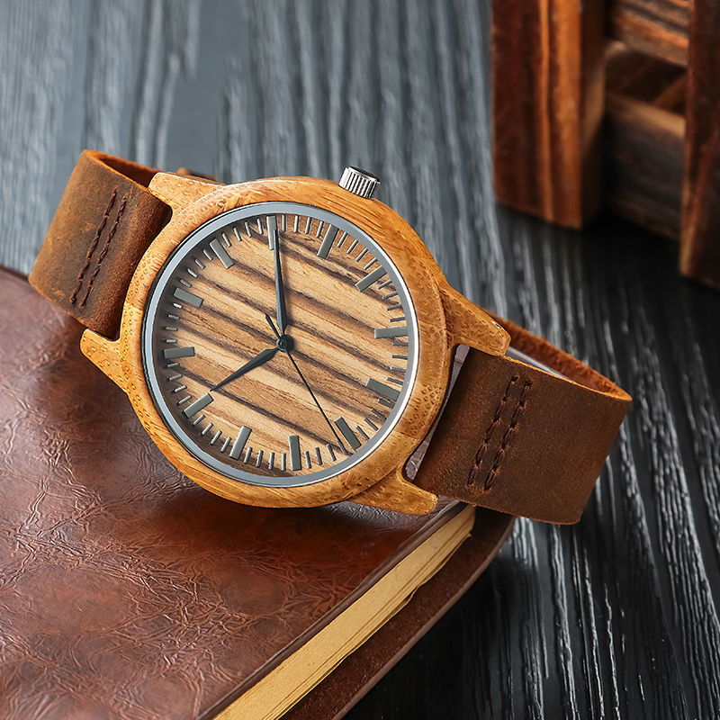 SIHAIXIN Bamboo Wood Watches Male Genuine Leather Watchband Clock Relogio Masculino Mens Womens Wooden Watch Gift For Lady  Man