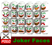 24pcs Joker Faces Expressions Memes Block Compatible With Lego Accessories MOC Toy