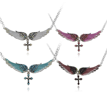 2017 Romantic Style Angel Wing Cross Necklace Women Biker Jewelry Gifts W Crystal Wing Necklaces Adjustable Charms Cross Pendant