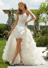 2016 Customize High/Low Sexy Backless Short Front Long Back Wedding Dresses Organza Bridal Gown C194
