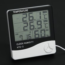Indoor LCD Electronic Temperature Humidity Meter Digital Thermometer Hygrometer Weather Station Alarm Clock(China)