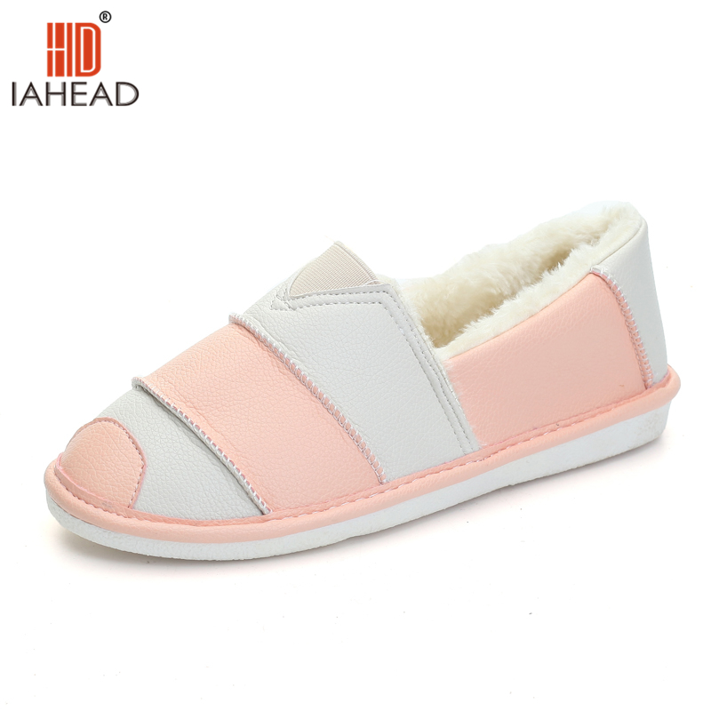 IAHEAD Shoes Women Warm Shoes Leather Winter Flats With Plush Snow Shoes Flats Casual Fashion Boots Brand 2018 UPC374<br>