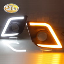 For Toyota Hilux Revo Vigo 2015 2016,Yellow Signal Style Relay Waterproof ABS Case 12V Car DRL LED Daytime Running Light SNCN(China)