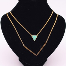 6 style Fashion Women Stone Necklaces triangle water drop Black White green Gold Layered necklaces & pendants factory sales(China)