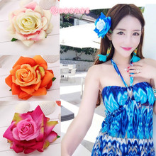 Korean Floppy Rose Hairpin Brooches Blue Yellow Green Simulation Flower Hair Clip Girls Beach Bohemia Headwear Hat Accessories