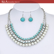 Brightly Bohemian Statement Collar Necklaces Greenish-blue Beads Simulated Pearls Pendants Necklaces for Women Holidays Beach(China)
