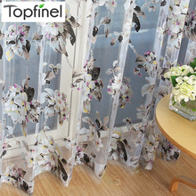 Top Finel 2016 Organza Window Tulle Curtains for Living Room Bedroom Kitchen Sheer Curtains Cheap Yarn Curtain Floral Ready Made(China)