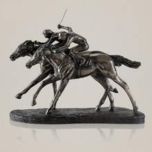 Classic Horse Racing Sculpture Handmade Resin and Copper Jockey Statue Sports Memento Decoration Present Art and Craft Ornament
