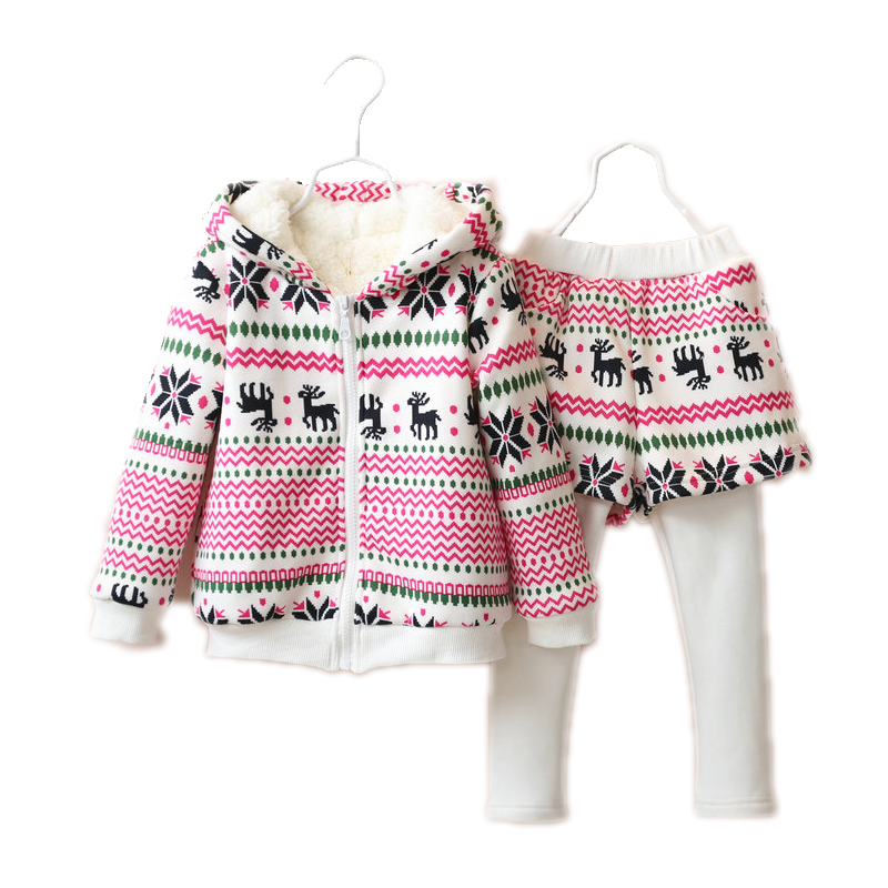 girls clothing sets 2017 baby tracksuit long sleeve hooded children clothing sets national toddler girl clothing coats+pantskirt<br>