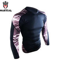 Martial Official Store men's mma rashguards long sleeve printed Mma rashguard fitness Bjj boxing jersey crossfit dry fit tights(China)