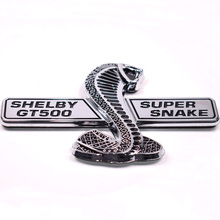 3D Auto Car Silver Shelby Super Snake Cobra Emblem Badge Sticker For Ford Mustang Shelby GT500 GT-500 Styling Car-covers