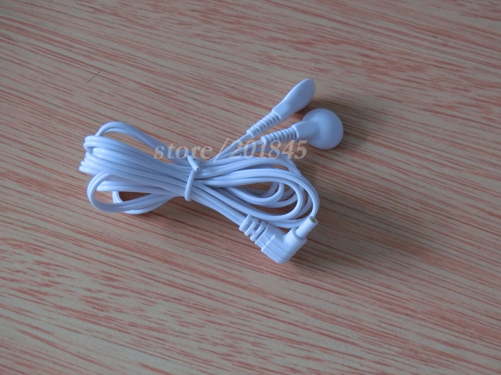 Wholesale 100Pcs/Lot Electrode Lead Wires Plug 2.35mm Connecting Cables with 2 Buttons For TENS 7000 Electronic Therapy Machines<br><br>Aliexpress