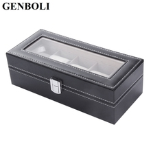 GENBOLI 3/5 Grids PU Leather Watch Box Display Case Jewelry Boxes Watches Storage for Home Jewelry Decoration