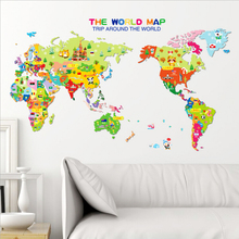 Animal World Map Wall Stickers For Kids Rooms Bedroom Cartoon Home Decor Living Rooom Carte Du Monde Adesivo De Parede(China)