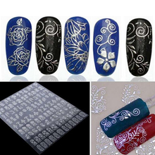 Mileegirl 1Sheet=108Pcs 3D Metal Nail Art Stickers,DIY Flower Decoration Decals Stickers Manicure For Nails Design(China)