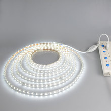 AC220V led tape flexible SMD 5050 60led/M White / Warm white led strip light + EU power plug Waterproof bar lights(China)