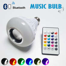 2017 E27 Wireless bluetooth 12W LED speaker bulb Audio Speaker Colorful music playing & Lighting With 24 Keys IR remote Control