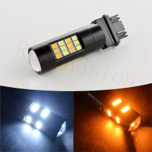 1PC 3157 Switchback Turn Signal Light 3056 3156 3057 LED Car Dual Color 12V 24V White+Yellow 2835 42SMD