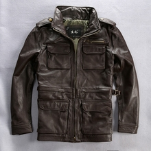 m65 genuine cow leather clothing male turn-down collar slim jacket thickening cowhide outerwear(China)