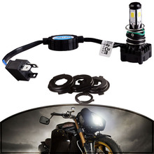 MAYITR 1Set Motorcycle H4 25W 2500LM 5 COB Headlight with Fan High Low Beam LED Light HID 6000K White Lamp with Claw Socket