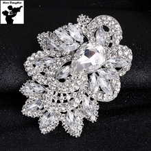 9.3 cm Very Big Large Luxury Clear Crystal Brooch Pins for Women Bridal Wedding Brooch Jewelry Flower Bouquet Pins Suppliers