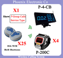 Restaurant Waiter Call Bell Systems Bell System Showing Service Table Number,P-4-CB Receiver 1pcs 200C Watch 4pcs H4 Bell 25pcs