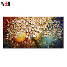 Modern Hand painted Oil Painting Fashion Home Decoration Canvas Wall Art Abstract Painting Drawing Flowers Tree Palette Knife