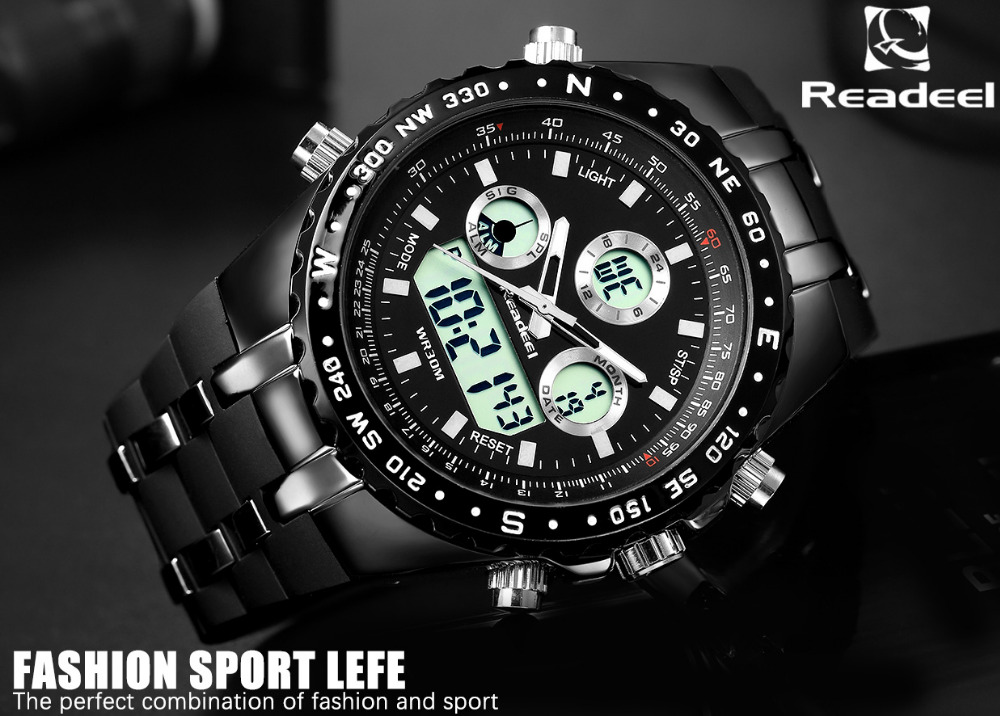 Readeel Top Brand Sport Quartz Wrist Watch Men Military Waterproof Watches LED Digital Watches Men Quartz Wristwatch Clock Male 7