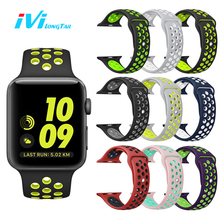 IVI Sport Cover for Apple Watch Series 1 2 38mm 42mm Strap Band Silicone Sports Waterproof Breathable Soft Flexible strap band(China)