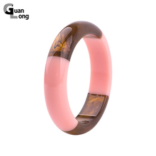 GuanLong Unique Round Lucite Resin Bangles For Ladies High Street Show Bracelet Costume Jewelry(China)