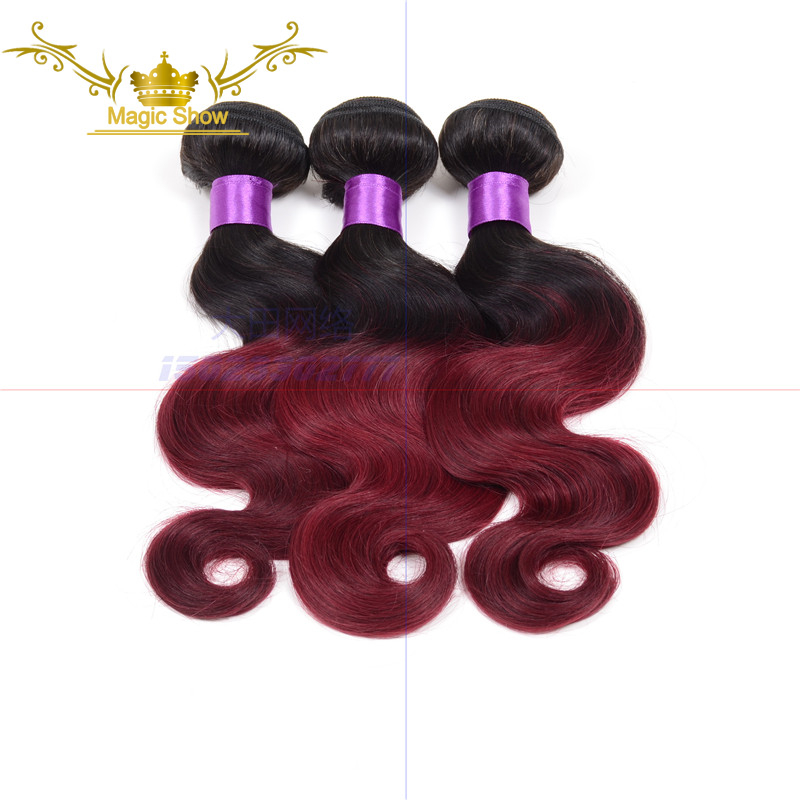 Ombre Brazilian Hair 6A Virgin Hair Body Wave Burgundy 3 Bundles Two Tone Color 100% Human Hair Weaves Ombre Hair Extensions<br><br>Aliexpress