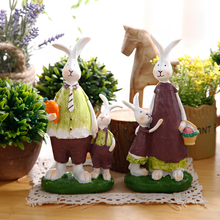 Creative Resin Rabbit Figurines Statues Animal Figurine Home Decor Ornaments Bunny Crafts Office Desktop Decoration Accessories(China)