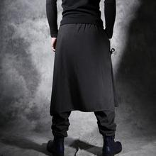 Spring and summer large size men's casual personality skirt pants Chinese winds fake two pieces loose harem black trousers/27-40