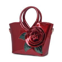 Women Bright Surface PU Leather Handbags Big Red Flower Lady Casual Shoulder Bags Mujer Cross Body Totes Large Capacity Handbag(China)